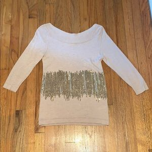 Boston proper top, Sz: M, Blush with gold sequence